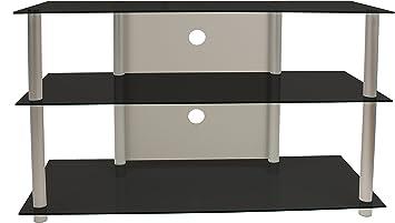 vcm 14145 olopa xxl meuble tv aluminium verre argent noir yhuijhgfdrtyuhgfe