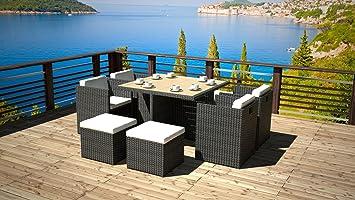 artelia ensemble table et chaises cubique ra c sine tressa c e plateau bois composite abeluna noir lowest zcvbhgffgha