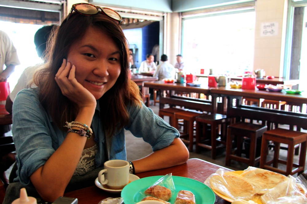 Eating at a tea shop in Dawei