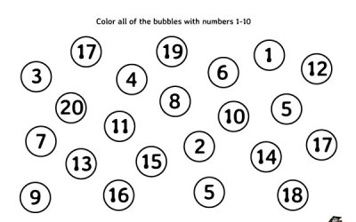 Free Math Worksheet Color Bubbles With Numbers 1-10
