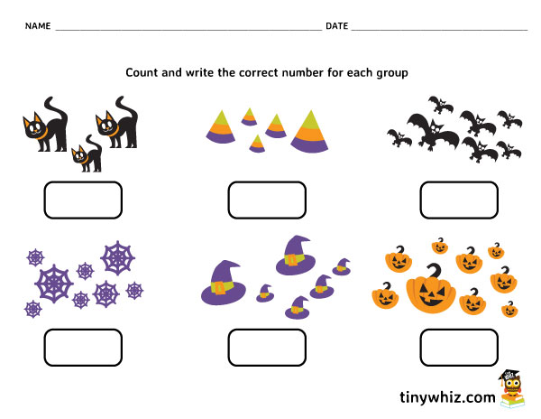 Free Printable Halloween Counting Worksheet For Kids | Tiny Whiz