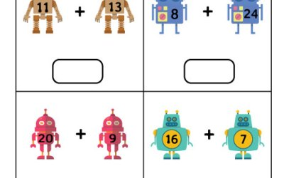 Free Printable Robots Addition Worksheet