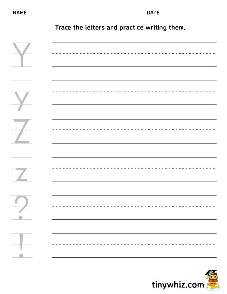 Free Printable Writing Worksheet Y and Z For Kindergarten