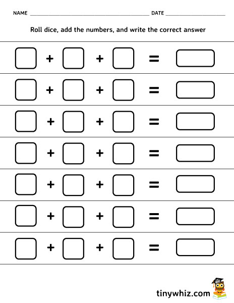 Grade 1 math worksheet - add 3 single-digit numbers | K5 Learning