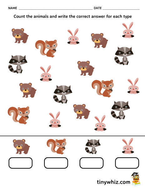Free Printable Counting Animals Worksheet