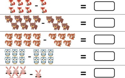 Free Printable Kindergarten Math Worksheet Subtract Animals