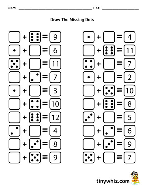 Free Worksheet Draw The Missing Dots: Dice Addition For