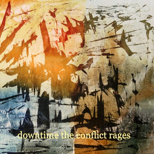 "photograph of an abstract image with jagged black against a weathered looking background, and the text of the one-like monoku ""downtime the conflict rages"""