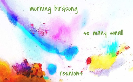 abstract watercolor painting with images suggestive of birds, and the text of the poem superimposed