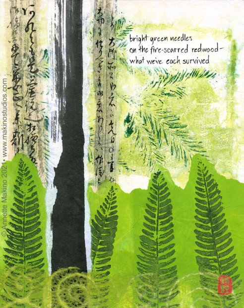 watercolor painting with abstract green shapes suggesting a forest with one black stump. pine needles above and ferns below, and the text of the haiku superimposed