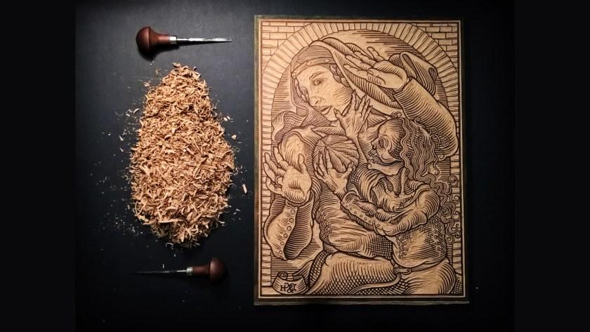 Davide Schileo incisa woodcut