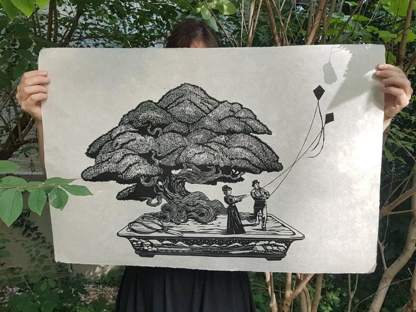 Honey Thief Prints Under the Bonsai tree print