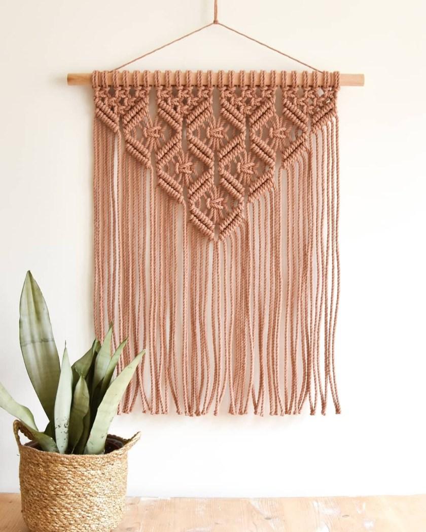 TamarThings macrame tapestry brown
