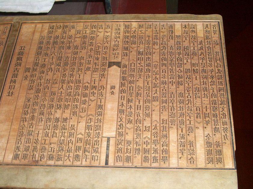 Chinese woodblock printing text