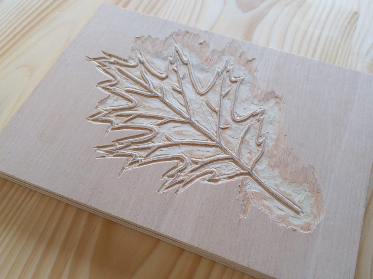 Plywood block leaf woodcut in progress