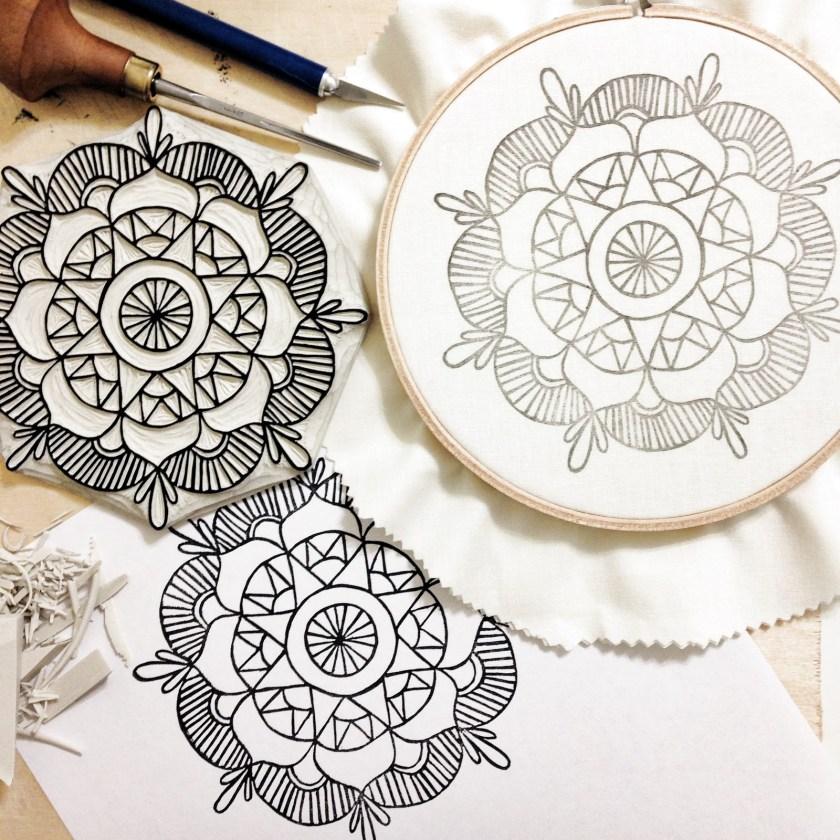Sarah K Patro linocut and embroidery