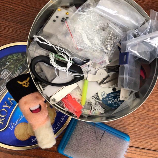 Ed Mironiuk needlefelt tools cookie tin