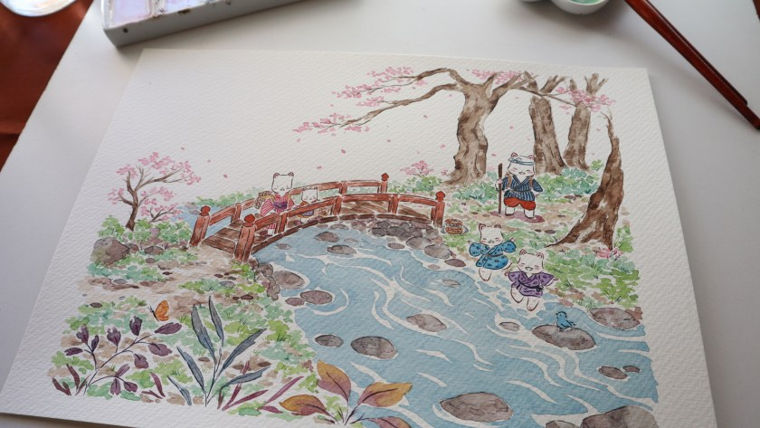 Flor Kaneshiro Senda watercolor river