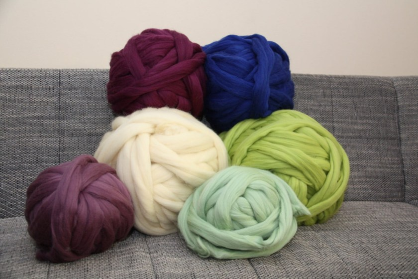 Pink Unicorn Studio super bulky yarn for arm knitting