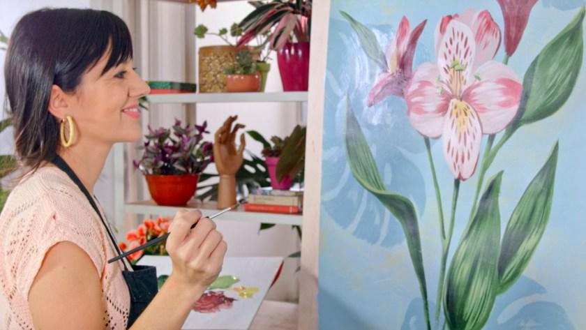Botanical painting with acrylic