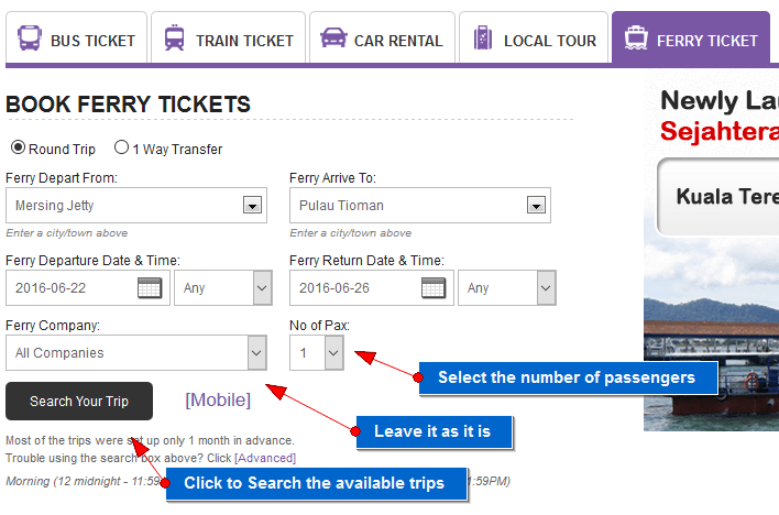 tioman ferry ticket online booking step 5