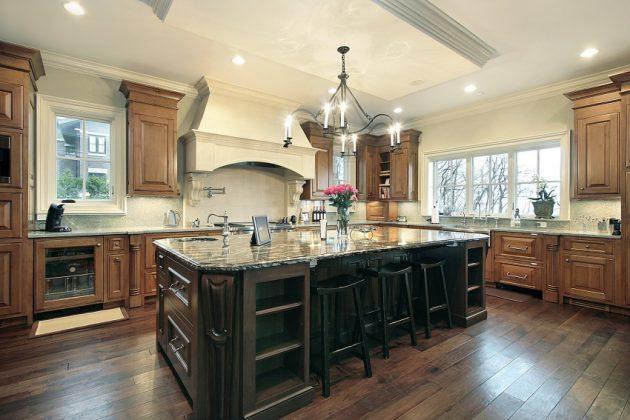 Contoh Warna Lantai untuk Kitchen Cabinet Gelap