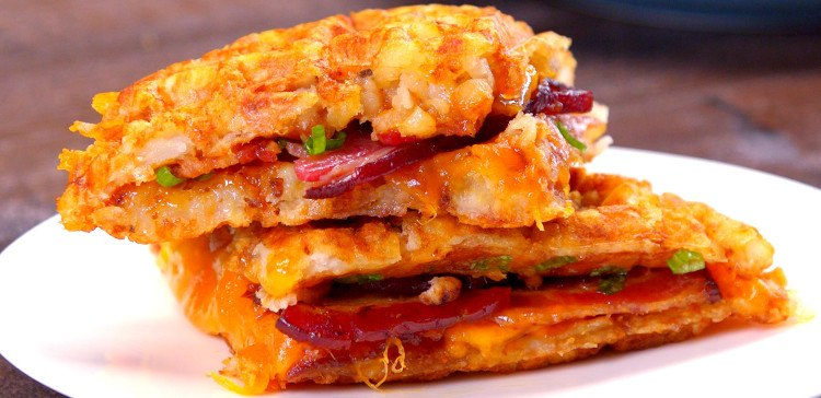 Tater Tot Grilled Cheese bacon sandwich