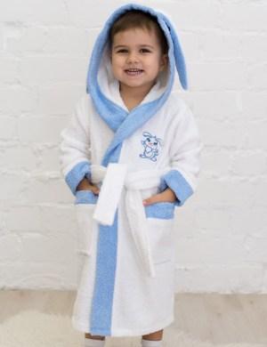 Махровый халат детский Зайчик с вышивкой