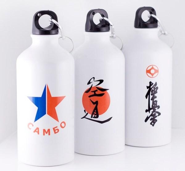 Спортивная бутылка Белая с печатью