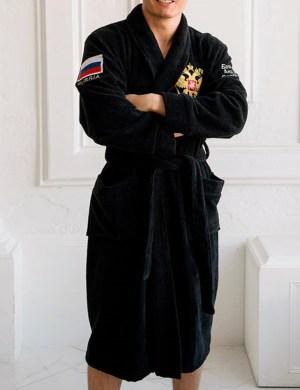 Махровый халат с вышивкой Черный (NEW!!)