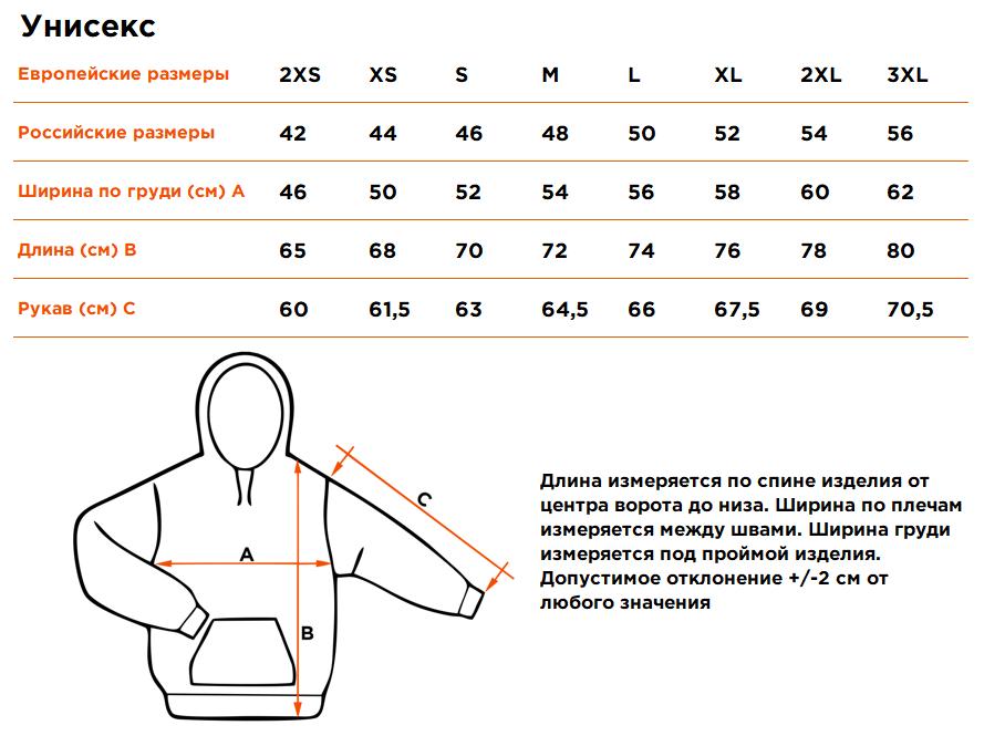 Размерная сетка Толстовки