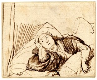 Artist: Rembrandt (1606–1669) Title: A Woman Lying awake in Bed Medium: Pen and brown ink on paper Year:Between circa 1635 and circa 1640Height: 8.4 cm (3.3 in); Width: 10.4 cm (4 in)License: Public Domain Mark 1.0 (Creative Commons)Image Source: https://upload.wikimedia.org/wikipedia/commons/b/b6/Rembrandt_Saskia_in_Bed.jpg