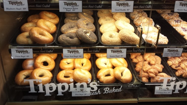 Tippin's fresh baked bagels and croissants