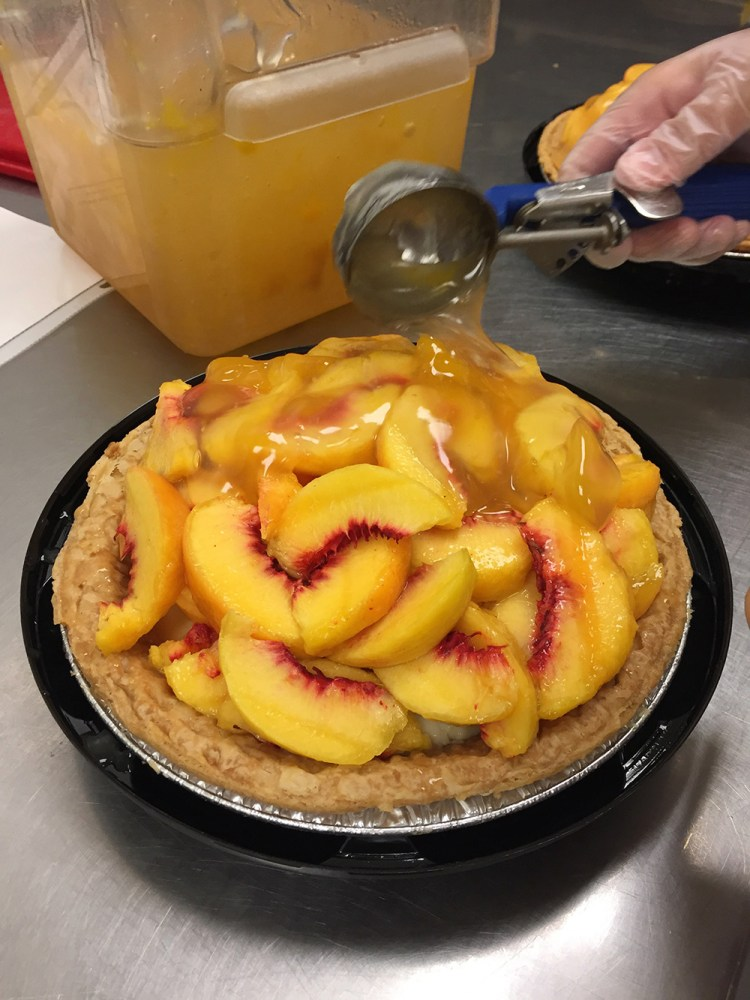 Tippins Peach Cooler Pie with warm peach glaze