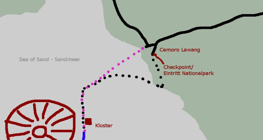 Bromo - Skizze für individuelle Wanderung durch das Sandmeer