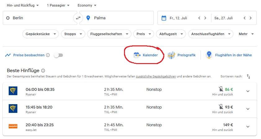 Google Flights Tabelle einblenden