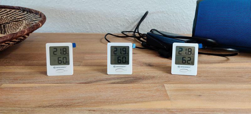 verschiedene Farben Bresser Temeo Hygrometer Indicator 3er Set Raumtemperatur