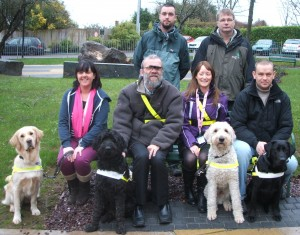 Guide Dog class graduates in 2013. Pictured are (L-R): Deirdre Noctor with Zara; Micheal Costello with Ugo; Cara Gibbons with Uri; Vincent Stack with Zeff and Irish Guide Dogs Instructors David Kenneally and Eoin Slattery