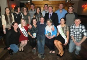 Pictured standing left to right: Lisa Meade, Mary Joyce, judge Lisa Hickey, the 2012 Tipperary Rose; Paudie Meade, Mr. Personality; Jane O'Dwyer, Eamonn Joyce, North Tipperary Chairman Tim Maher, Conor Quinn, and Tomas Fahy.  Front row left to right are: Catherine Maher, judge Gemma Goulding who was crowned 'International Miss Macra' for 2013-2014; Meave Campion holding her trophy for 'Miss Macra'; Joe McGrath, Chairman of Devil's Bit Macra; Margaret Stanley holding her 'Queen of the Land' trophy; Geraldine Barrett the current national 'Queen of the Land'; and Cian Martin.