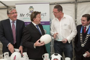 Tom Hayes, TD, Junior Minister for Agriculture,  Food & the Marine; John Perry, TD, Minister for Small Business; Noel Cahill, Cahson Ltd. t/a Mr. Sports Gift; Cllr. Martin Lonergan, Mayor of Clonmel.