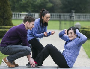 Vhi Experts David Gillick, Louise Heraghty and Maeve Higgins pictured at the launch of the 2015 Vhi Women's Mini Marathon