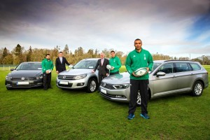 Pictured at the handover of the new Volkswagen IRFU fleet are (from left to right): Marty Moore; Tiernan O'Rourke, National Corporate Sales Manager, Volkswagen; Paul O'Sullivan, Head of Marketing, Volkswagen; Tommy O'Donnell and Simon Zebo.
