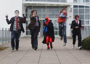 LIT Thurles students Mark Nemec (The Joker), James Walsh (The Doctor), John O Bruachaill (Deadpool), Barry Mullane (Marty McFly) and Shane Hayes (Twoface) pictured outside LIT Thurles, which hosts Games Fleadh 2015 on March 11th. Pic Brian Arthur / Press 22​