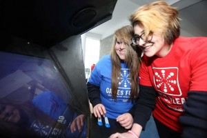 "Shannon Mostert and Ciara Bull from Nenagh pictured playing ""Sourse Control"" of exGamers Studios in LIT Thurles, which hosts Games Fleadh 2015 on March 11th. Pic Brian Arthur / Press 22"