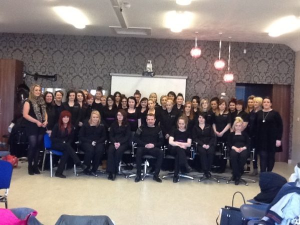 Templemore college Hairdressing Department Students and Tutors with Kieran O Gorma