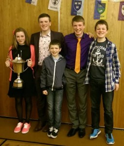 "Siblings, Anna, Daniel, Dillon, David & Jack Ryan at the Athletics Ireland National Star Awards in Tullamore recently. Daniel (second from left) won two National Awards on the night, ""Best Tipperary Athlete of 2014"" & the Bill Battersby Cup for ""Outstanding Performances in the Long Jump"". All 5 are members of Moycarkey Coolcroo A.C"