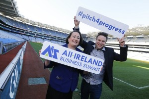 Elaine Carroll Programme Director of the All-Ireland Business Summit pictured with Greg Fry, social media guru, who will be hosting The Entrepreneur Corner at the summit, interviewing businesses and streaming the footage online. Photo by Conor McCabe photography.