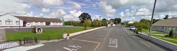 Scoil Naomh Cualán in Borrisoleigh is divided by a busy road