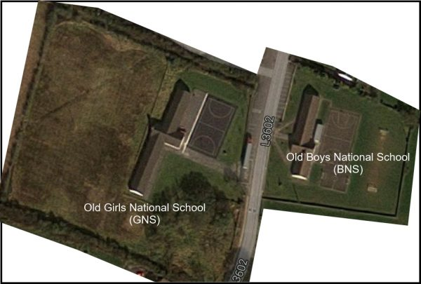 Aerial view from Google Earth showing how Scoil Naomh Cualán in Borrisoleigh is divided by a road
