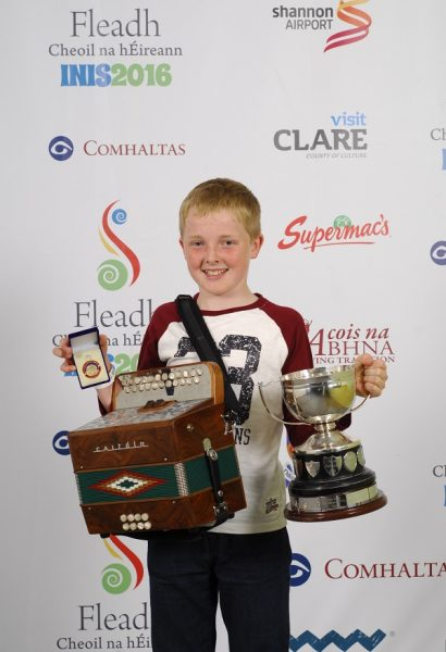 Cathal Mac Grianna of Tipperary, who came first in the Button Accordion age 12 to 15 category at the 2016 Comhaltas Ceoltóirí Éireann All Ireland Fleadh Cheoil in Ennis. Photograph by Loretto O Loughlin/www.instantimageireland.com.